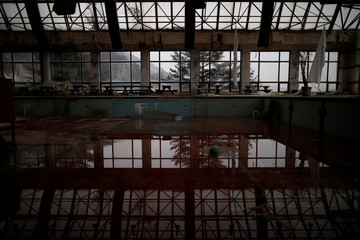 A ruined swimming pool is pictured at the abandoned Alps Ski Resort near the demilitarized zone separating the two Koreas in Goseong