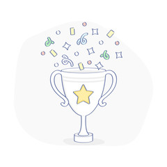 Celebration championship Winner Cup with confetti, reward, first place award best results, champion symbol, top success concept, competition reward, game victory outline vector icon illustration.