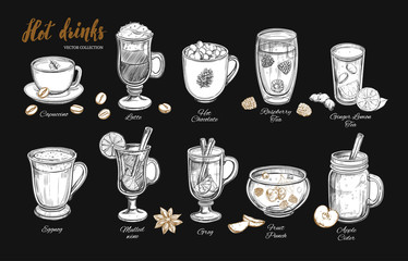 Hot drinks. Vector Christmas Winter collection. Different beverages in sketch style. Coffee, Tea, Mulled wine, Punch, Grog, Cider etc