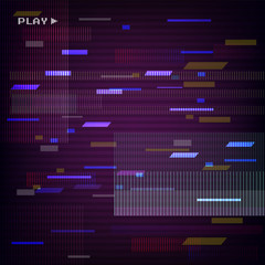 Glitched Abstract Design.  Distorted Glitch Style Retro Background. VHS  - Banner, Poster, Flyer, Brochure. Vector Illustration.