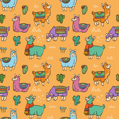 Cute outline seamless pattern with llamas. Ink vector illustration. For children and coloring books