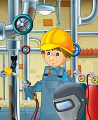 cartoon scene with construction worker  - welder - illustration for children