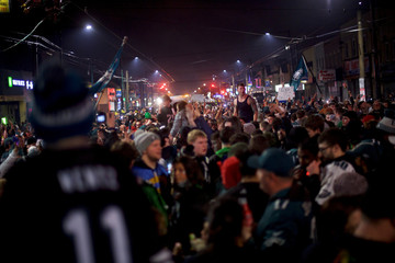 Fans celebrate the Philadelphia Superbowl LII victory over the New England Patriots
