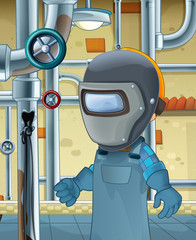 cartoon scene with worker in the basement repearing something - illustration for children