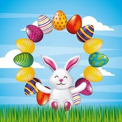 white cute bunny sitting decorative eggs round frame vector illustration