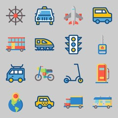 Icons set about Transportation. with motorbike, double decker and car key