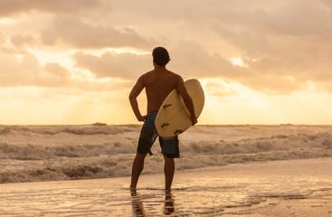 Male Man Surfer & Surfboard Sunset Sunrise Beach