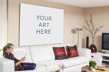 Interior painting frame design mockup