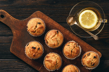Homemade buckwheat muffins, gluten free, on wooden background.