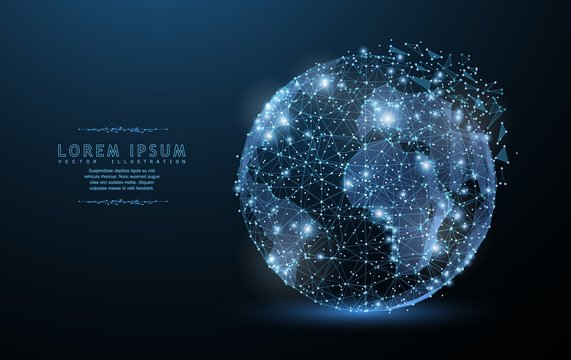 Globe. Polygonal wireframe mesh icon with crumbled edge looks like constellation. Concept illustration or background