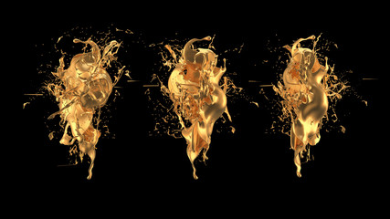 Mysterious, mystical, luxury splash of gold. 3d illustration, 3d rendering.