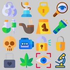 Icon set about Crime Investigation with keywords evidence, tape recorder, skull, flashlight, poison and magnifying glass