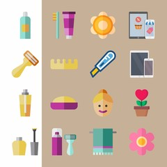 icon set about beauty with razor, toe separator and woman face