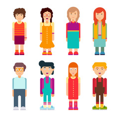 Colorful set of characters in flat design. Men and women standing on white background. Cute geometric flat style. Vector illustration.
