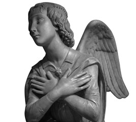 Marble statue of a beautiful angel isolated on white