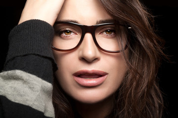 Beautiful Young Woman Wearing Trendy Eyewear