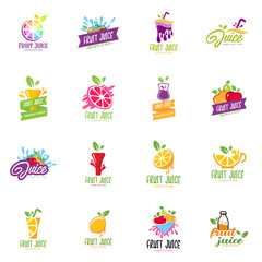 Fruit juice logo set