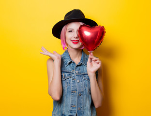 girl with pink hair style with heart shape ballon
