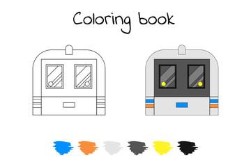 Coloring book for children. Vector illustration. subway train, m