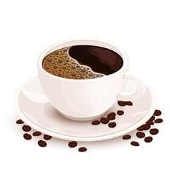Cup of coffee vector realistic illustration. White cup of black coffee on a saucer on which coffee beans are scattered, isolated on white background