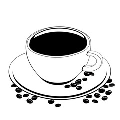 Cup of coffee, vector outline drawing, contour picture, coloring, sketch, silhouette. A cup of black coffee on a saucer on which coffee beans are scattered, isolated on white background