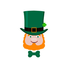 Vector leprechaun face with red beard, green hat and clover. Design element for St. Patrick's Day. Isolated on white background.