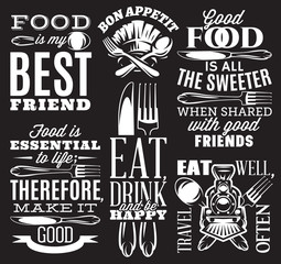 set of inscriptions in retro style on theme of eating with cutlery