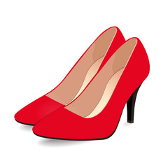 Pair of red shoes on high heels, isolated on white background. Vector illustration