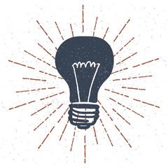 hand Drawn Light Bulb with Vintage Sunburst. Vector