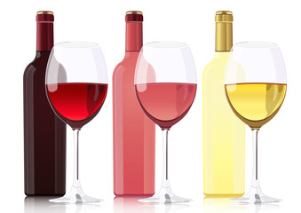 Set of bottles of different types of wines. Bottle of red wine, bottle of rose wine, bottle of white wine and glass goblets with wines. Vector realistic drawing, isolated on white background