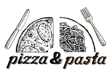 Vector illustration with hand-drawn lettering. Pizza and pasta menu. Calligraphic and typographic elements on white background.