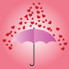 Valentine card With a small red heart.Heart red falls to the umbrella.