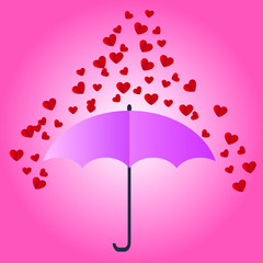 Valentine card With a small red heart.Heart red falls to the umbrella. vector illustration