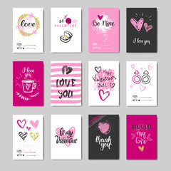 Set Of Doodle Valentine Day Greeting Cards Design Sketch Love Typography Elements Collection Vector Illustration