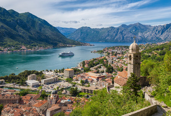 Fototapete - Historic town of Kotor with Bay of Kotor in summer, Montenegro