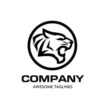 Tiger head vector logo concept. Tiger head silhouette sign. Bengal tiger head creative illustration