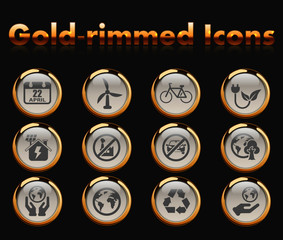 earth day gold-rimmed vector icons with black background