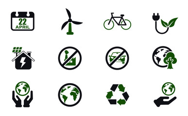 earth day simple vector icons in two colors