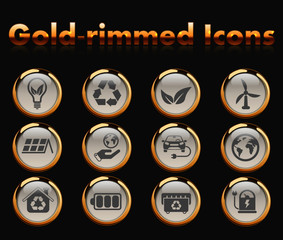 alternative energy gold-rimmed vector icons with black background