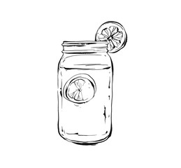 Hand drawn vector abstract artistic cooking ink sketch illustration of tropical lemonade shake drink in glass mason jar isolated on white background.Diet detox concept