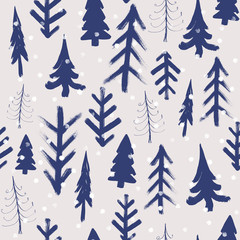 Fir tree winter hand drawn background, watercolor seamless pattern.