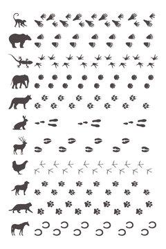 Tierspuren mit Silhouette
