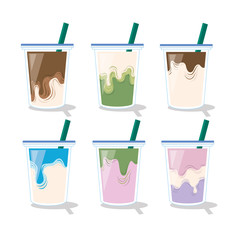 Set of mix drink. Coffee, milk , chocolate green tea background