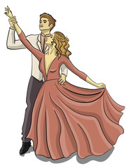 A guy in a tuxedo and a girl in a puffy pink dress are dancing a waltz eps 10 illustration