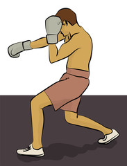 A man in pink shorts and light gray gloves is boxing eps 10 illustration