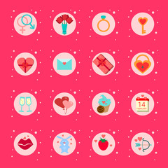set Of Valentines Day Icons Presents, Boxes Romantic Holiday Elements Collection On Pink Background Flat Vector Illustration