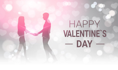 Silhouette Couple Holding Hands Over Glittering Bokeh Background Happy Valentines Day Greeting Card Design Vector Illustration