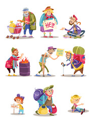 Homeless and beggars people vector cartoon illustration. Bum and homeless vagrant characters of woman and child begging alms, man panhandler in poverty at fire barrel flat isolated icons set