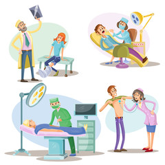 Medical examination and treatment vector illustration of patients and doctors at hospital. Surgery operation and dentistry, traumatologist with X-ray or physician with stethoscope cartoon flat icons