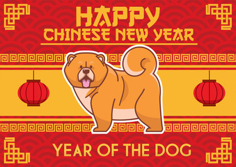 Chinese new year design with chow chow dog